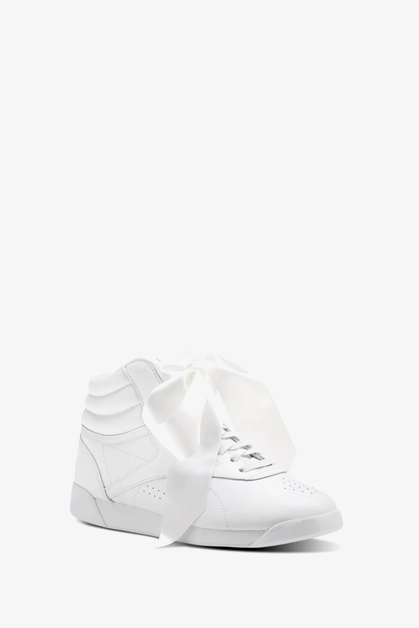 Women's Freestyle Hi Satin Bow Sneakers, White