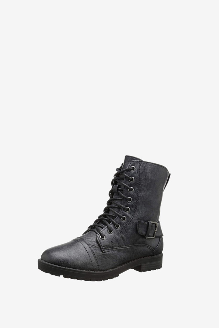 Kids Girls Connie Combat Boots, Black