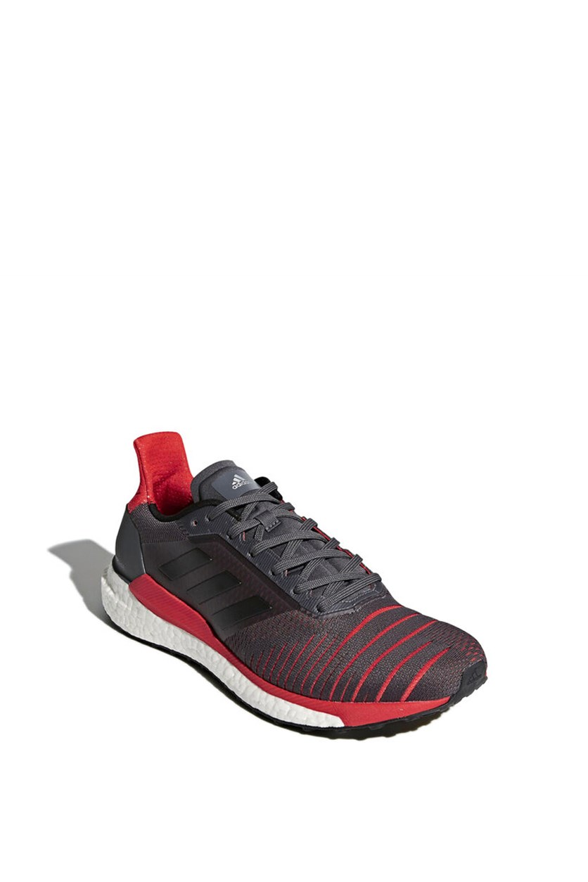 Men's Solar Glide Running Shoes, Grey/Core Black/Red