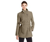 Calvin Klein Belted Basketweave Coat, Tan