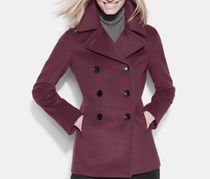Calvin Klein Double-Breasted Notch Collar Peacoat, Dark Purple