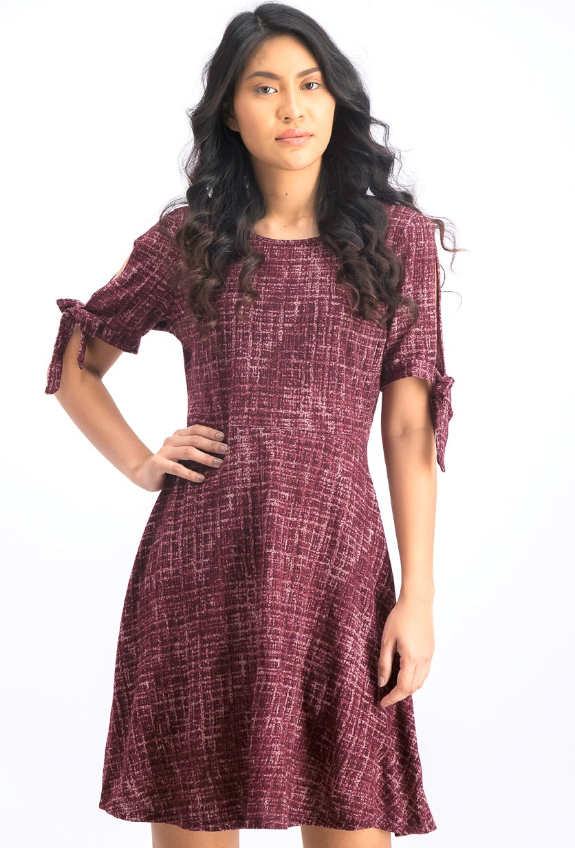 Women's Tie Sleeve Dress, Burgundy