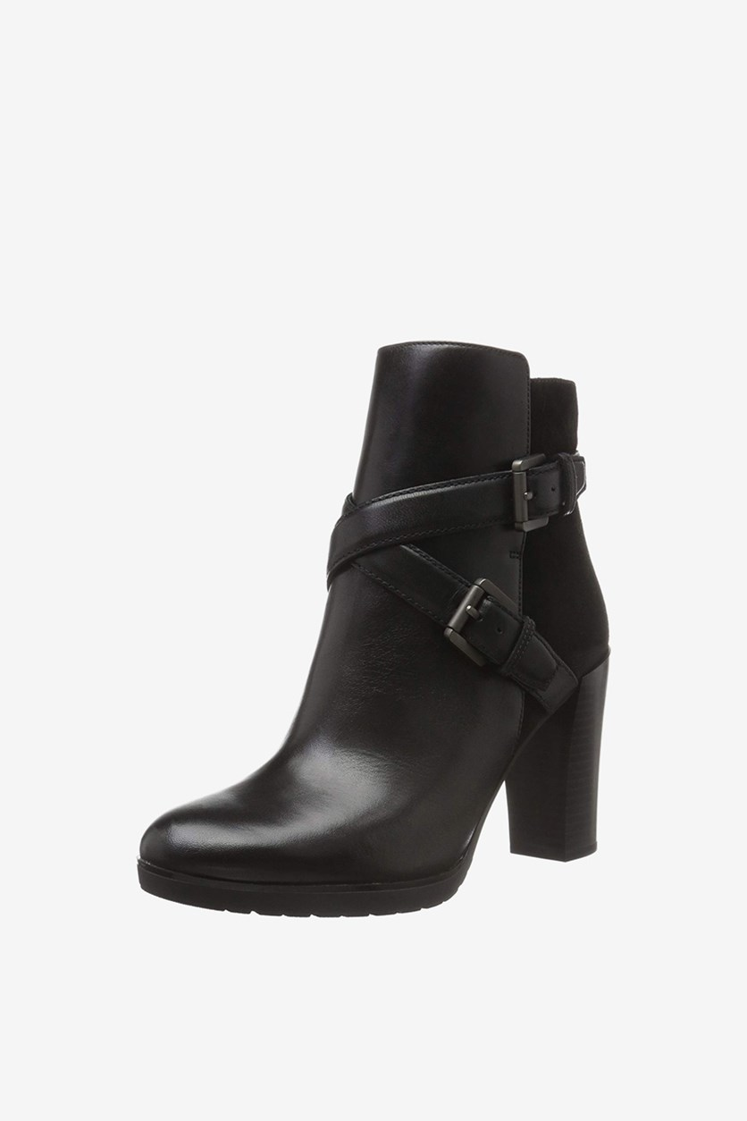 Women's Leather Ankle Boots, Black