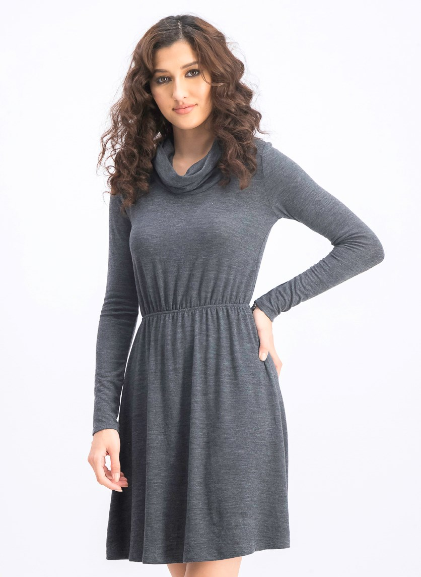 Women's Long Sleeve Dress, Grey
