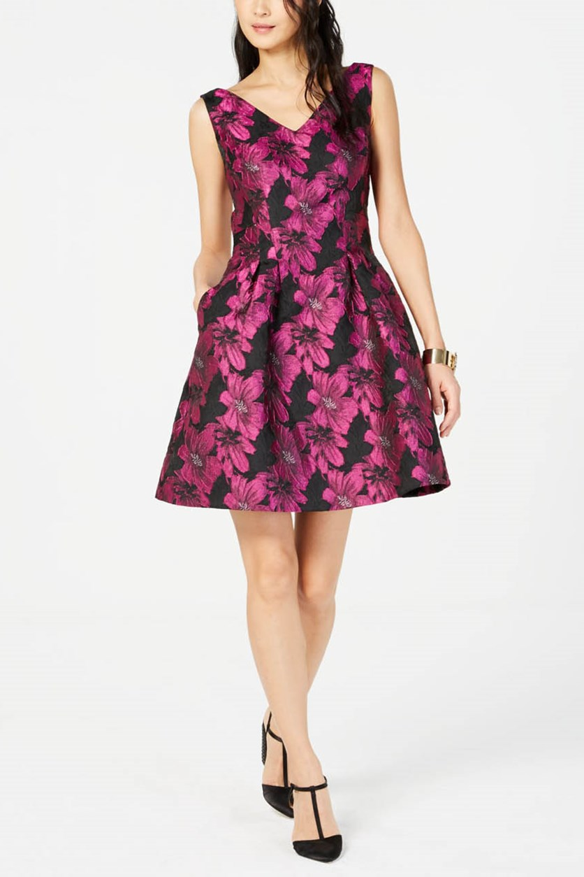 Metallic Floral Fit & Flare Dress, Black/Magenta
