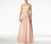 B Darlin Juniors' Embellished Lace Peplum Gown, Blush