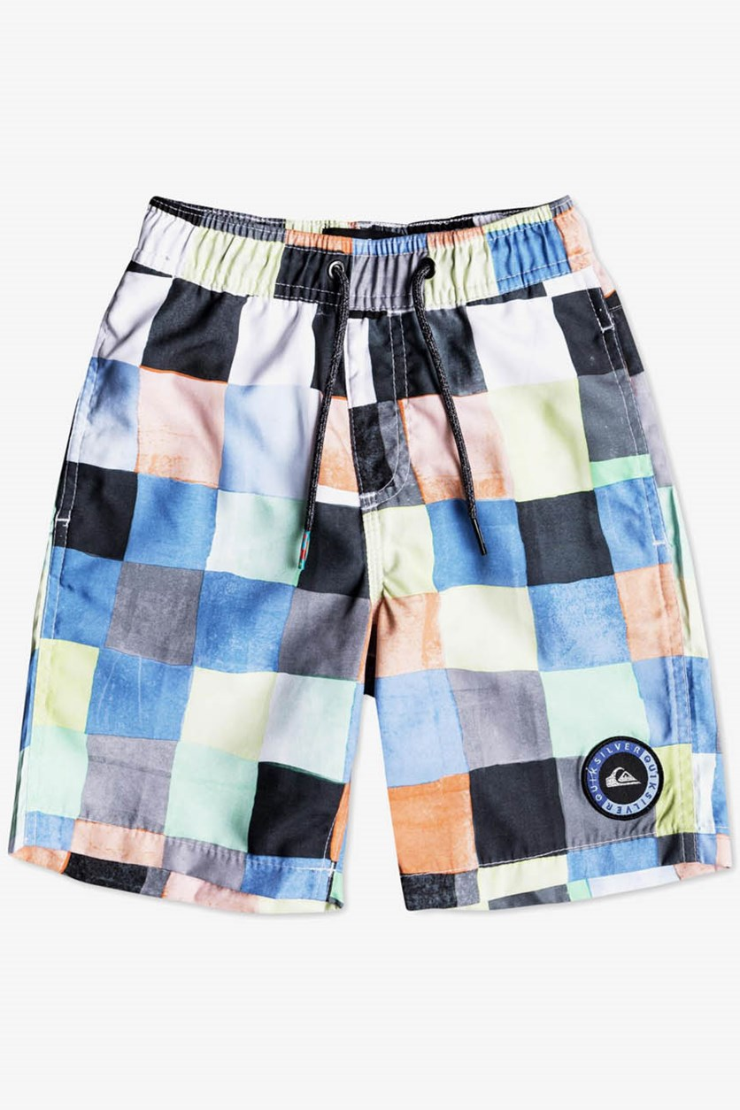 Boy's Resin Check Swim Trunks, Black/Blue/Green Combo