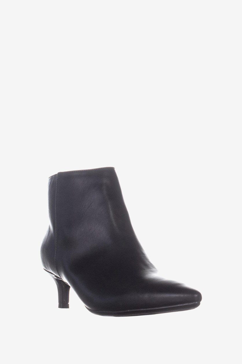 Womens Giselle Leather Pointed Toe Ankle Boots, Black