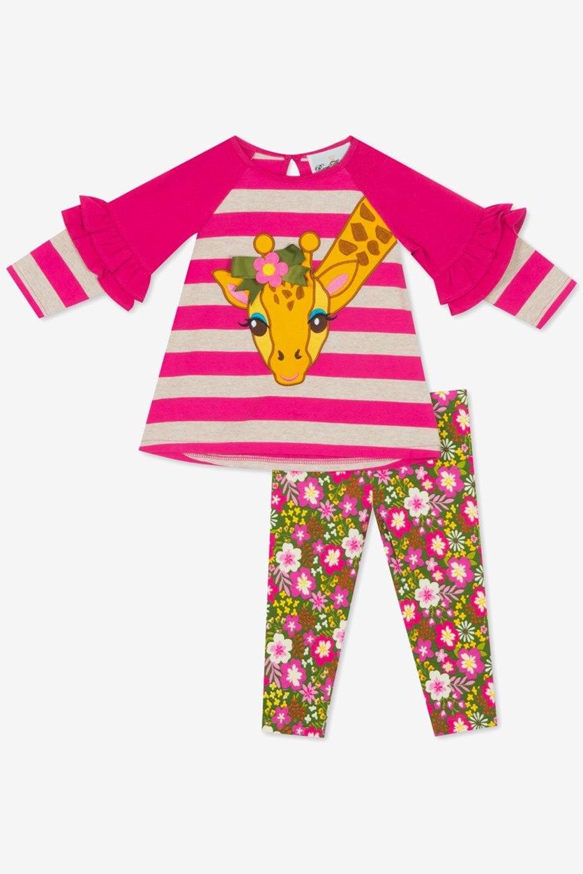 Baby Girls 2-Pc. Giraffe Tunic & Printed Leggings Set, Fuschia