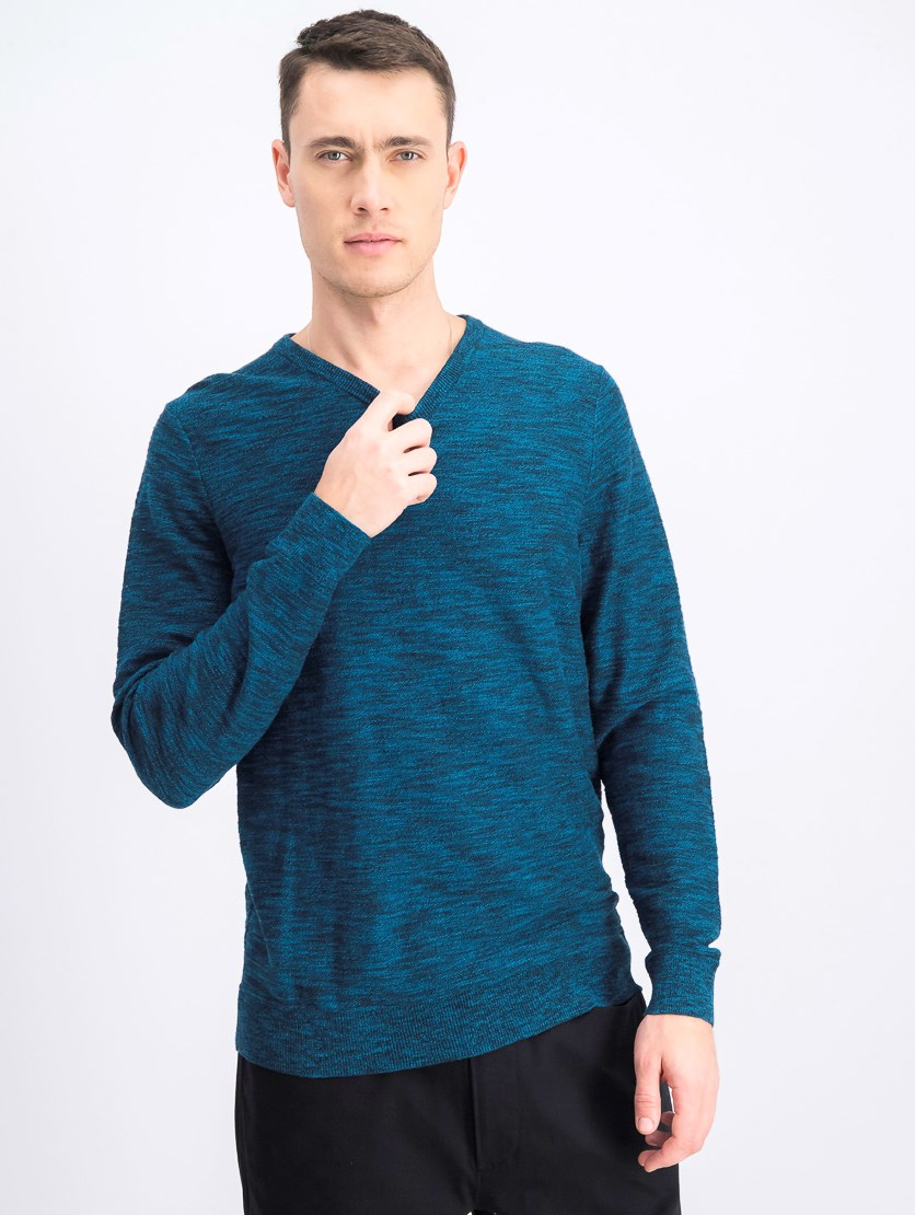Men's Riverside V-Neck Sweater, Dark Teal/Black