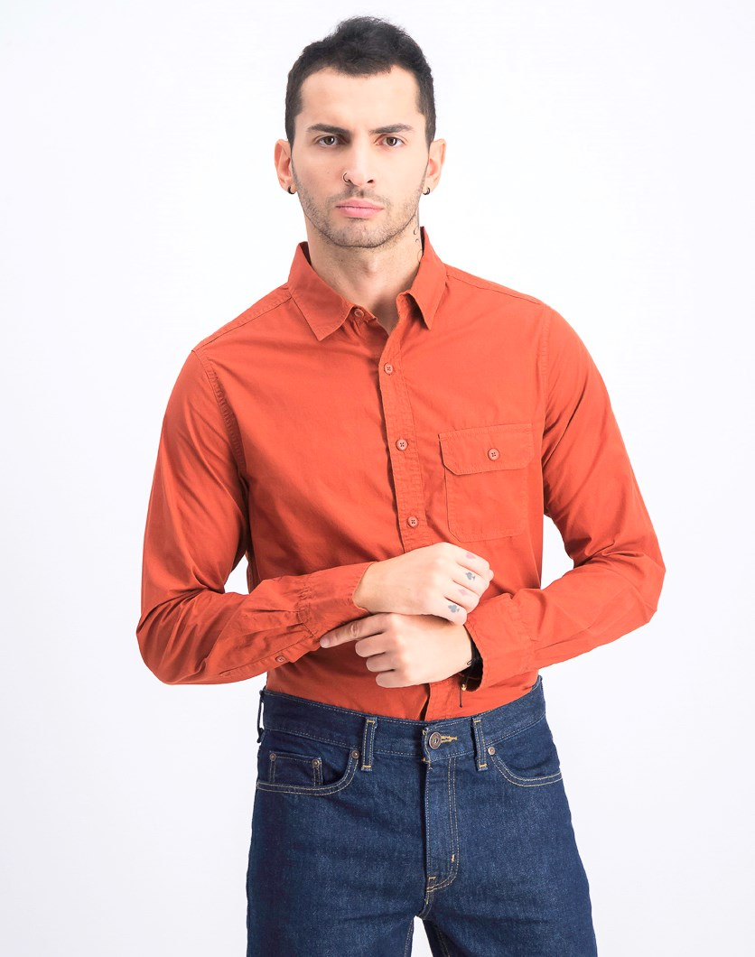 Men's Regular Fit Casual Shirt, Rust