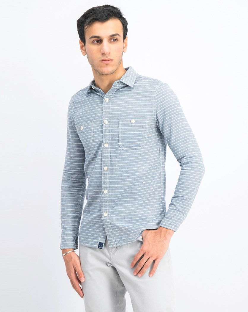 Men's Stripe Shirt, Navy
