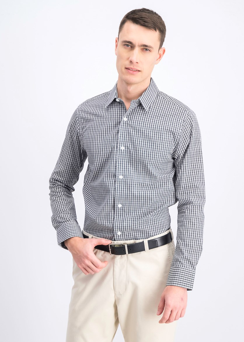 Men's Plaid Casual Shirt, Black/White