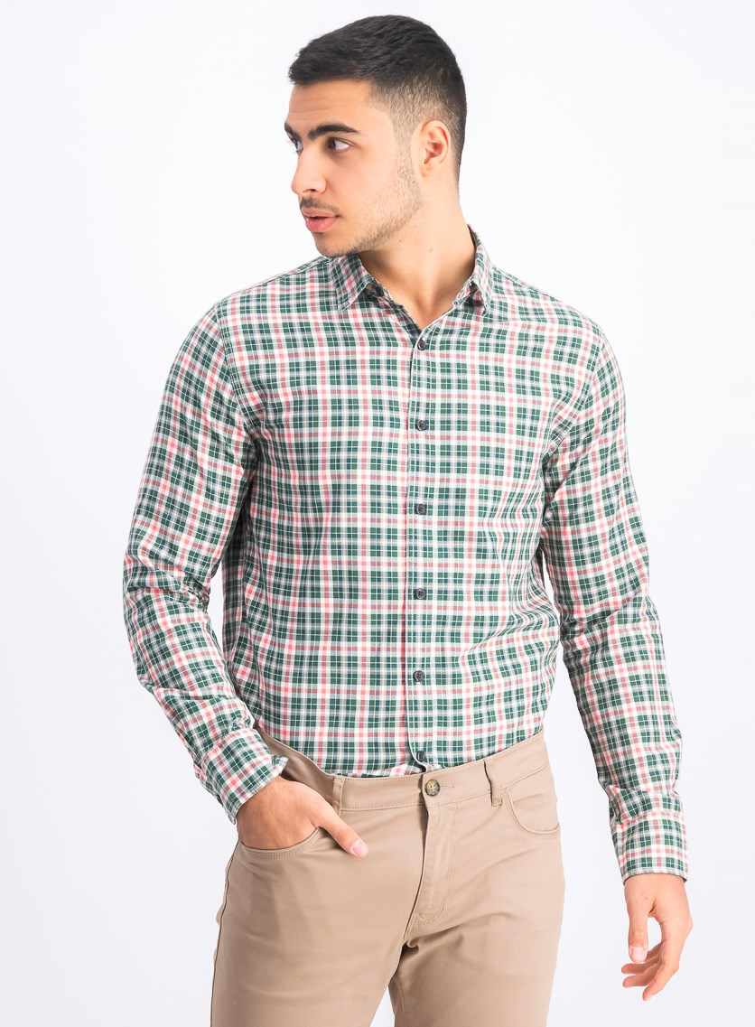 Men's Slim Fit Casual Shirt, Green Combo