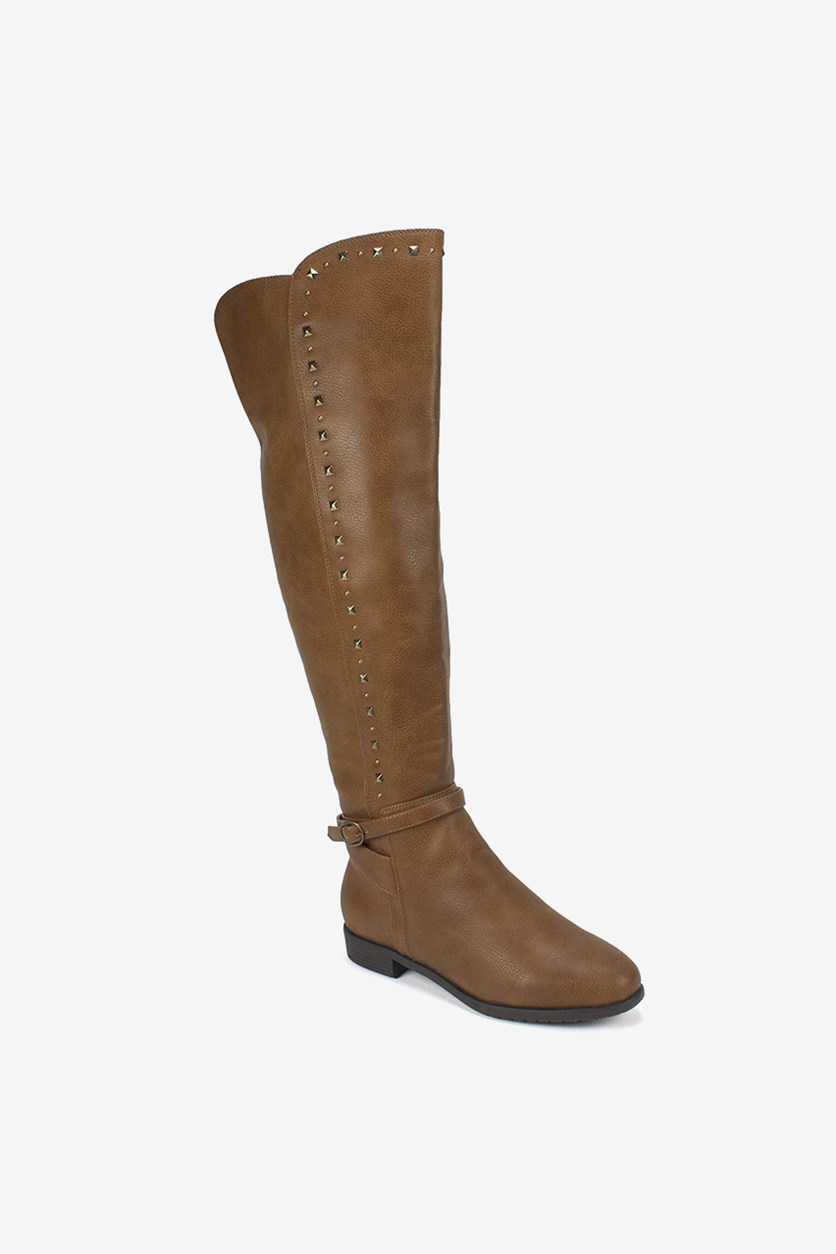 Women's Wide Calf Almond Toe Knee High Fashion Boots, Cognac