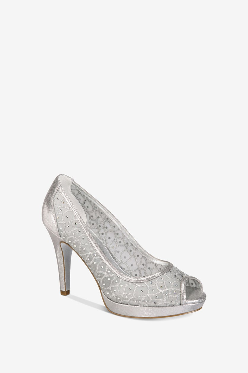 Women's oxy Peep-Toe Mesh Evening Pumps, Silver Sterling Metalic