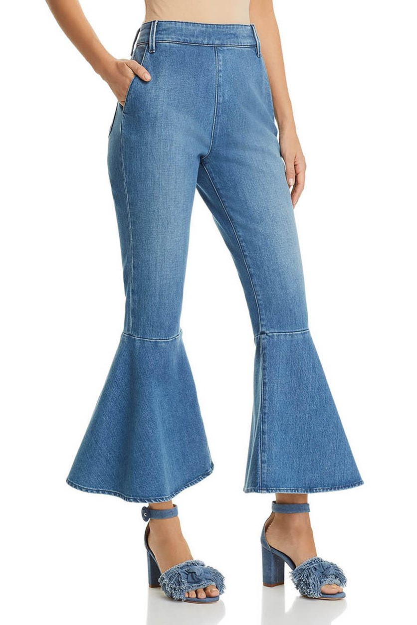 Flounce Cropped Flared Jeans, Copeland Blue