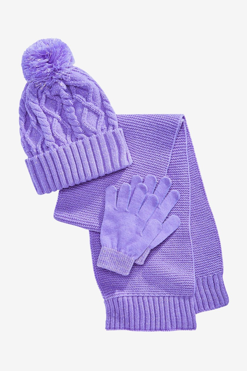 Little & Big Girls 3-Pcs. Hat, Scarf & Gloves Set, Purple Metallic