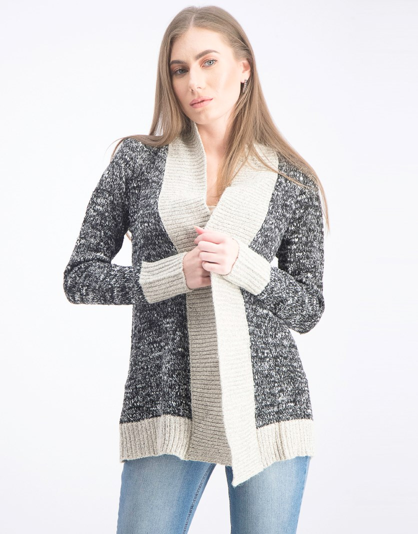 Women's Open Front Cardigan, Black/Natural