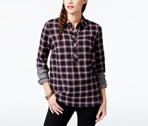 G.H. Bass Co. Faux-Sleeve Plaid Shirt, Black Combo