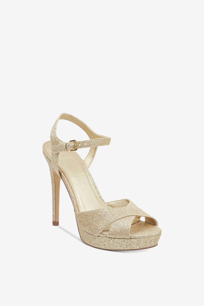 Jordie Metallic Glitter Dress Sandals, Gold Texture