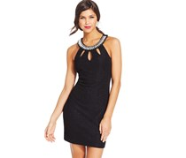 Teeze Me Juniors' Textured Cutout Sheath Dress, Black