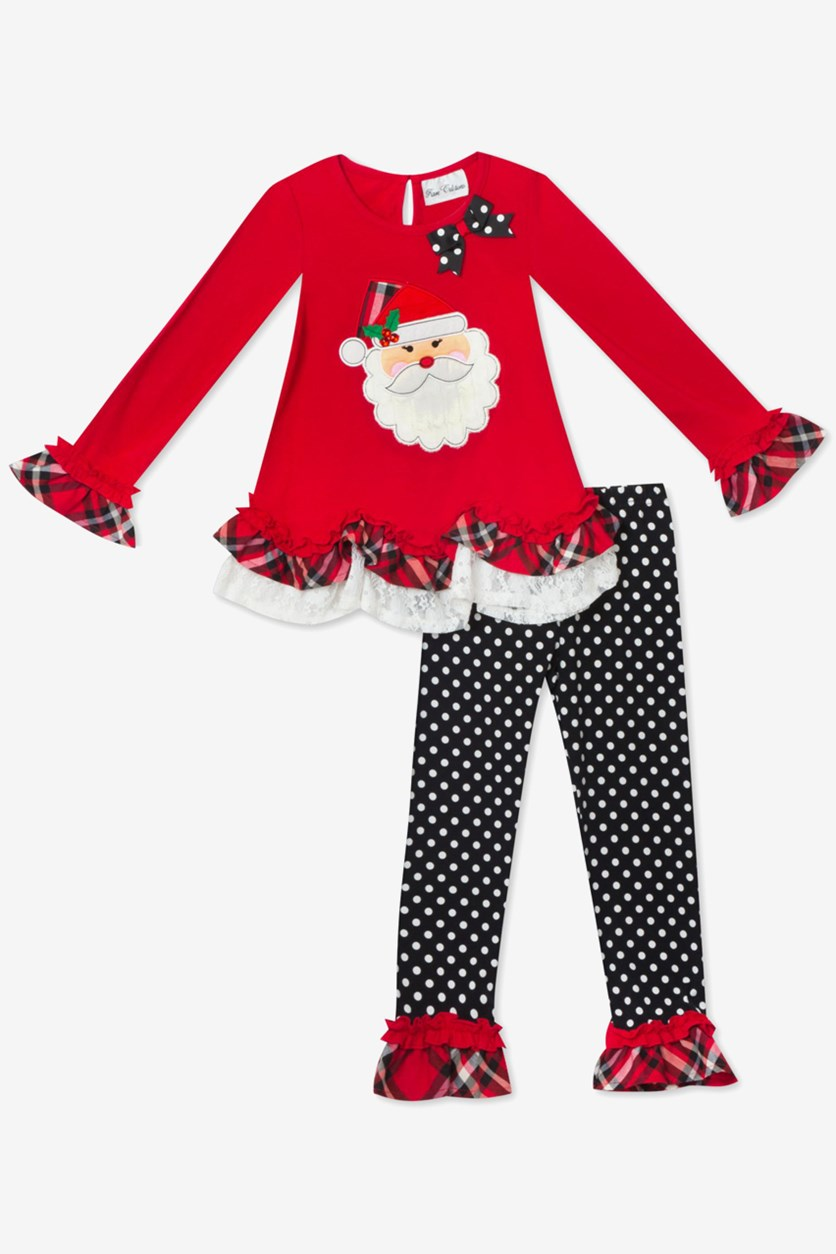 Toddler Girls 2-Pc Santa Tunic & Leggings Set, Red/Black