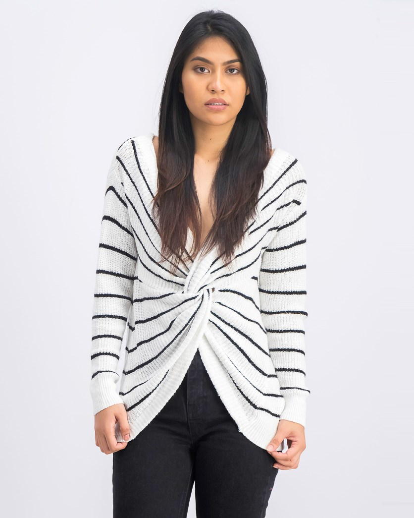 Women's Knitted Cardigan, Black/White