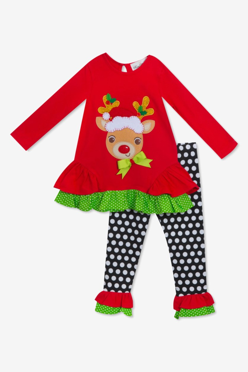 Baby Girls 2-Pc. Reindeer Top & Leggings Set, Red/Black