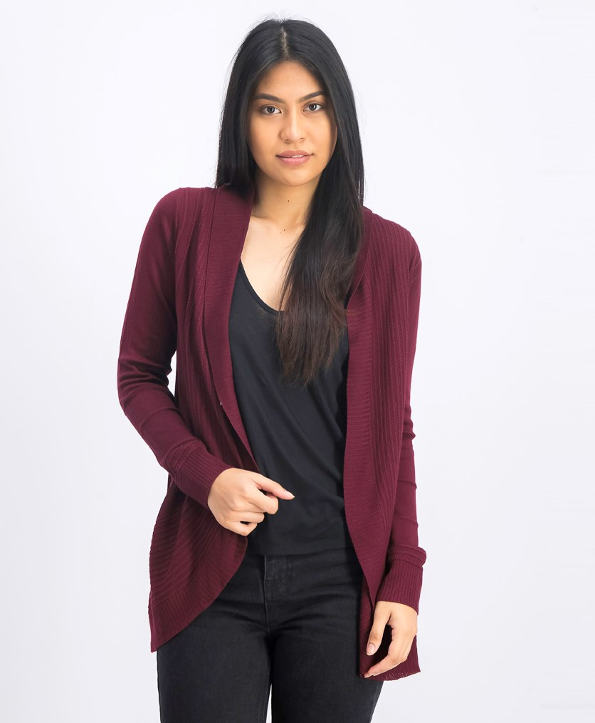 Women's Open Front Cardigan, Windsor/Maroon