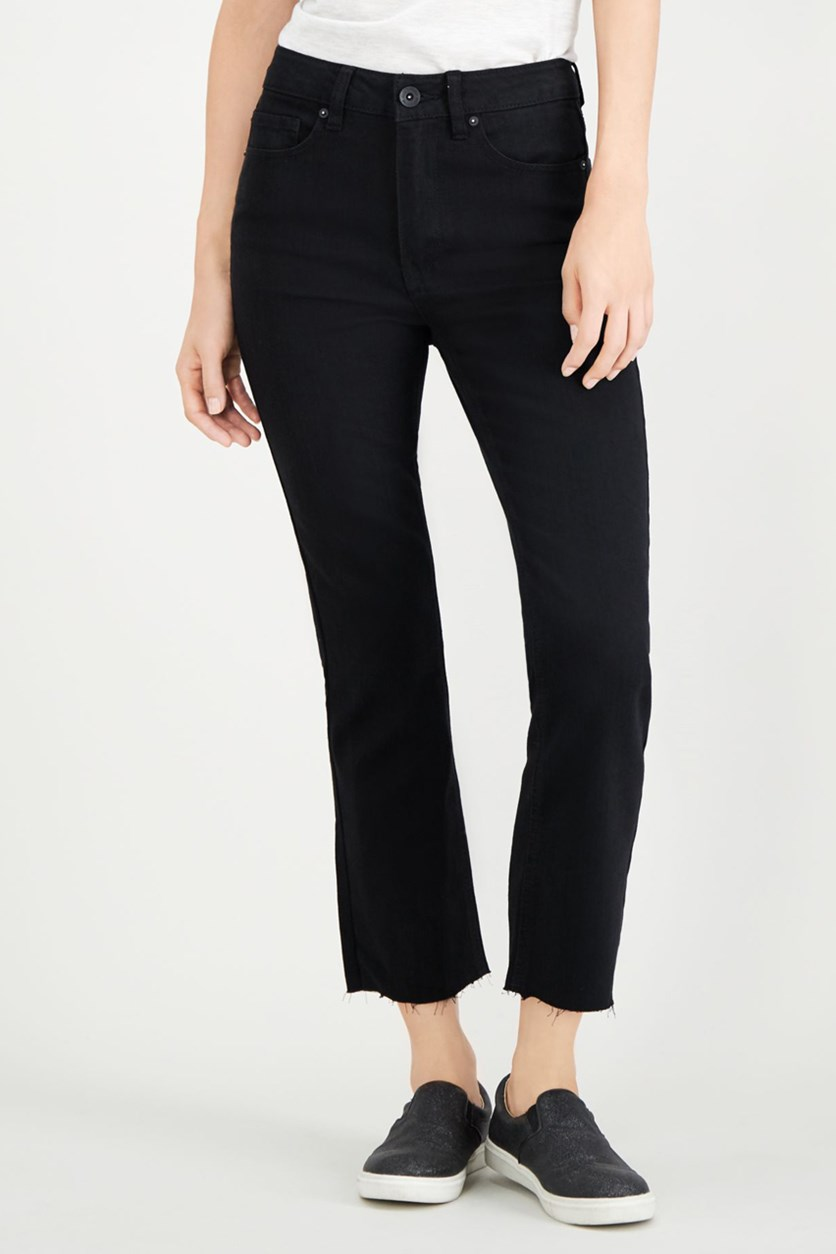 Juniors' Cropped Bootcut Jeans, Black