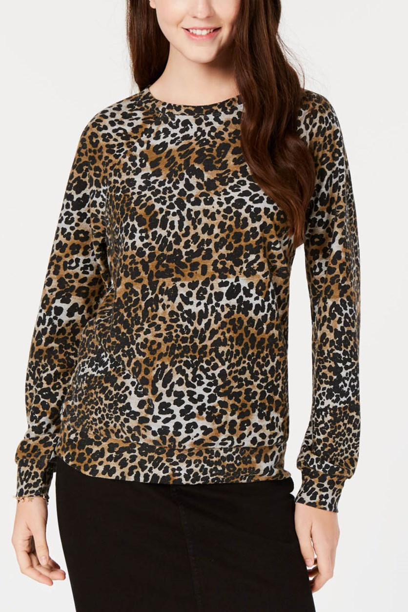 Women's Juniors' Leopard-Printed French Terry Top, Black