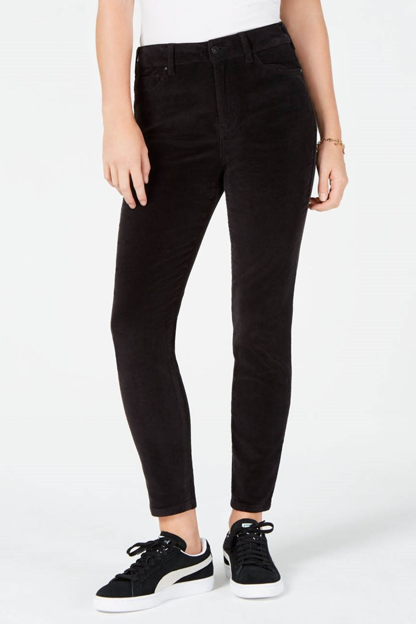 Women's Juniors High-Rise Corduroy Jeans, Black