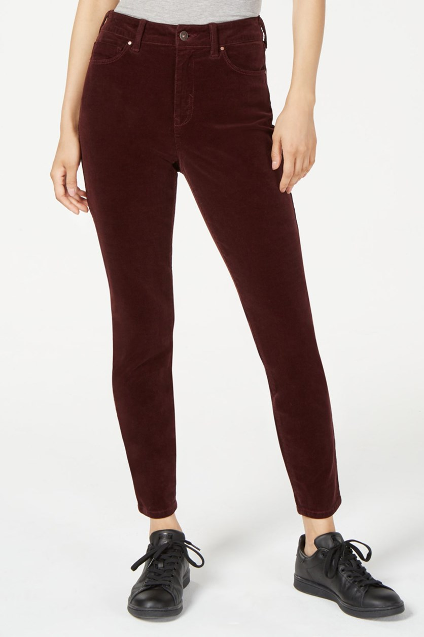 Juniors' High-Rise Corduroy Jeans, Burgundy