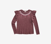Big Girl Rhinestone Ruffle Top, Burgundy