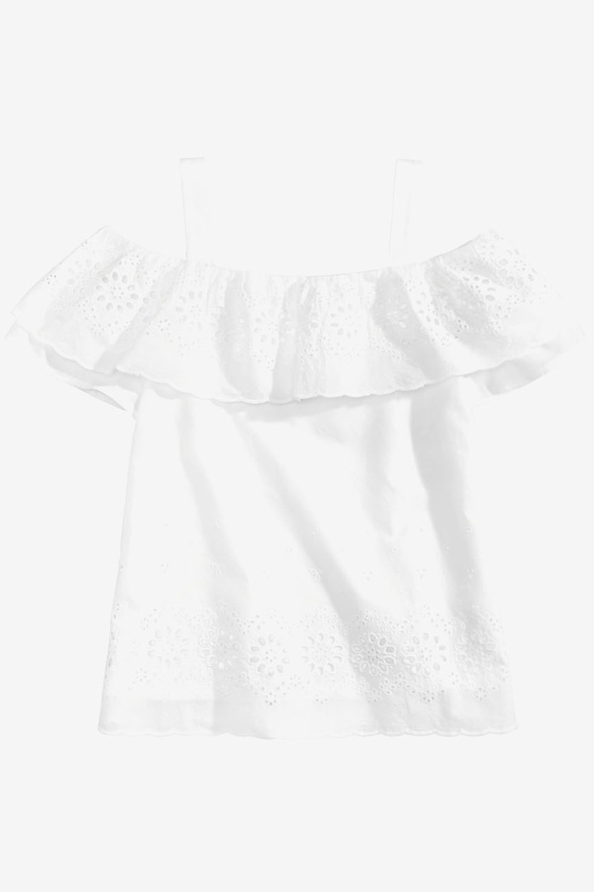 Big Girls Monteau Ruffle-Trim Eyelet Top, White