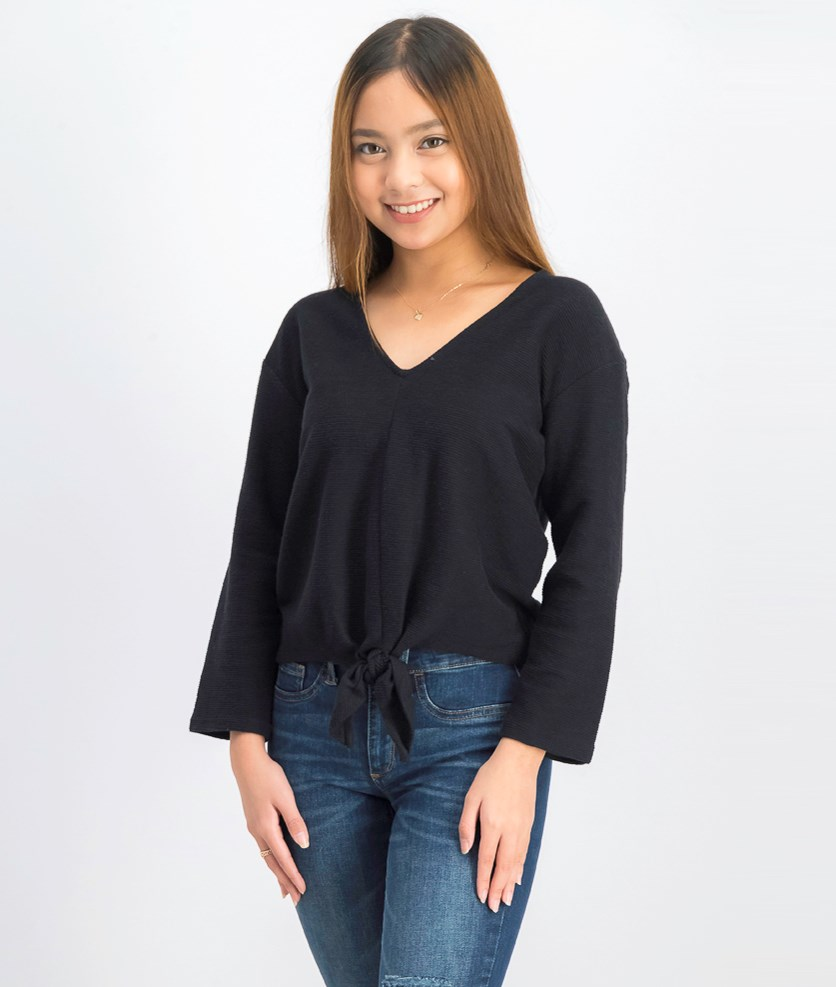Womens Knotted Tops, Black