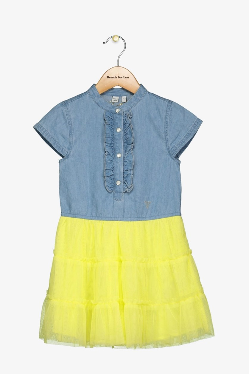 Kids Girls Layered Dress, Blue/Yellow