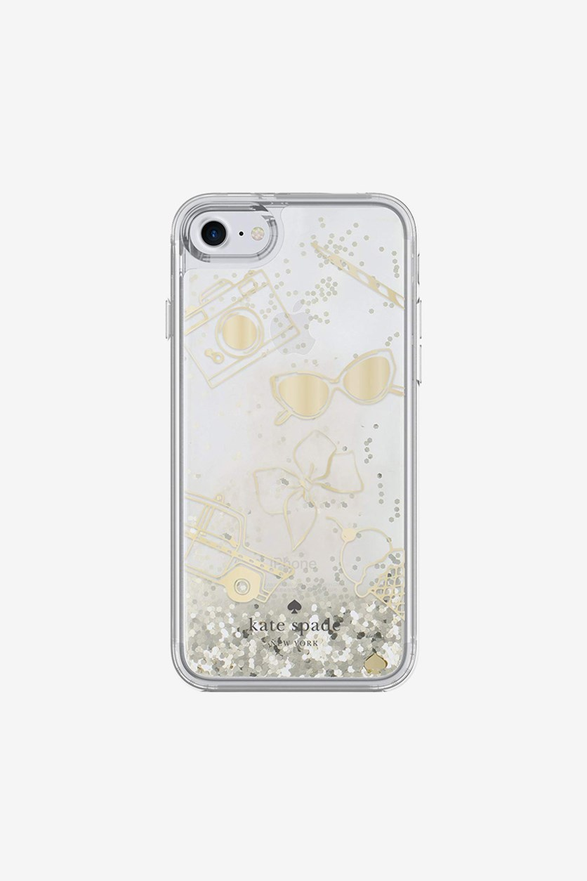 Clear Liquid Glitter Case for iPhone 7, Clear/Gold