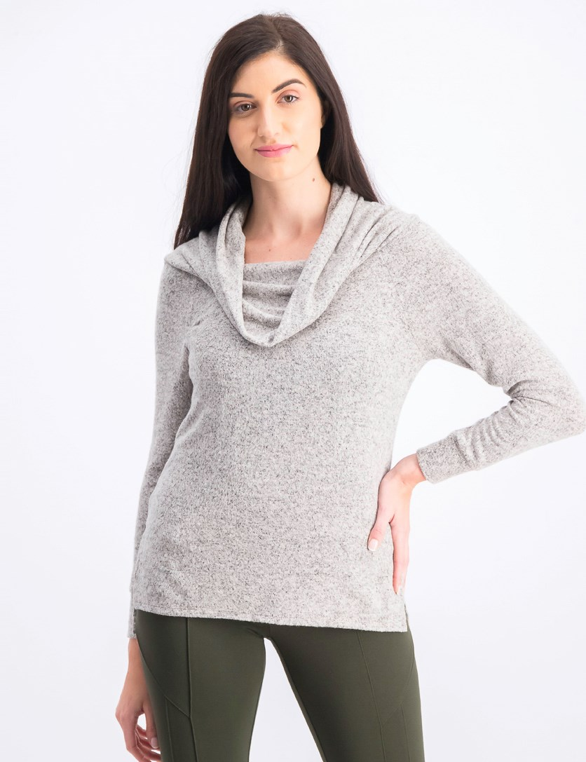 Women's Off Shoulder Sweater, Beige/Grey