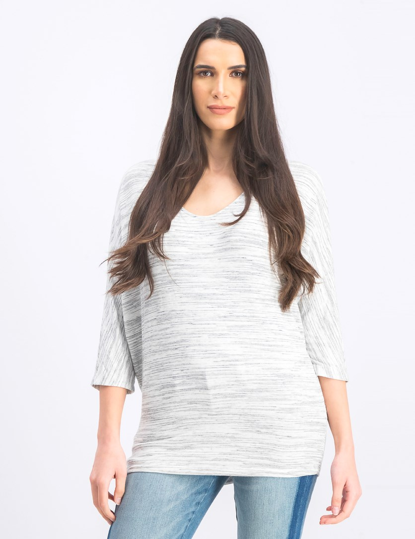 Women's V-Neck Sweater, White/Gray