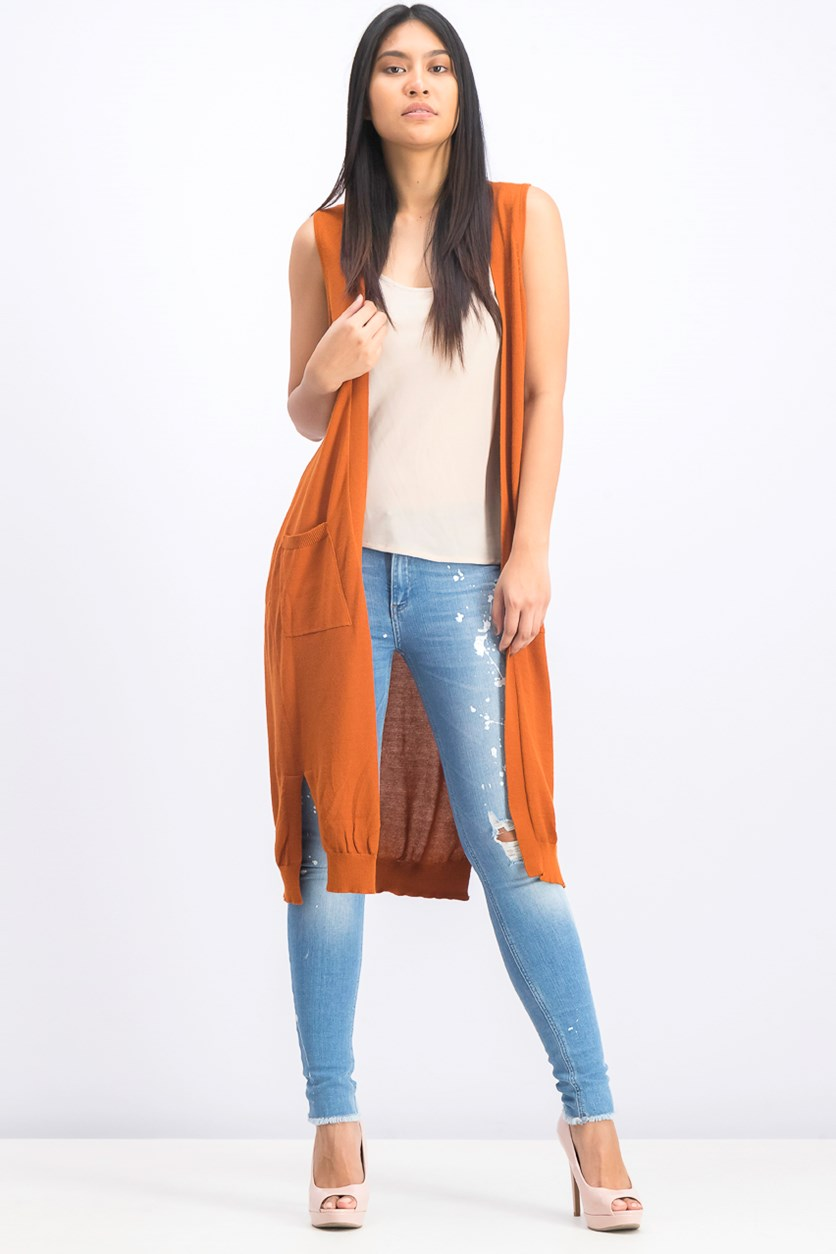 Women's Long Line Sleeveless Cardigan, Rust