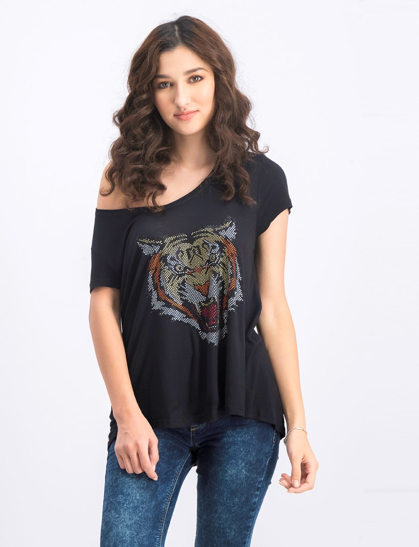 Women's Embellished Tiger Motif Top, Black