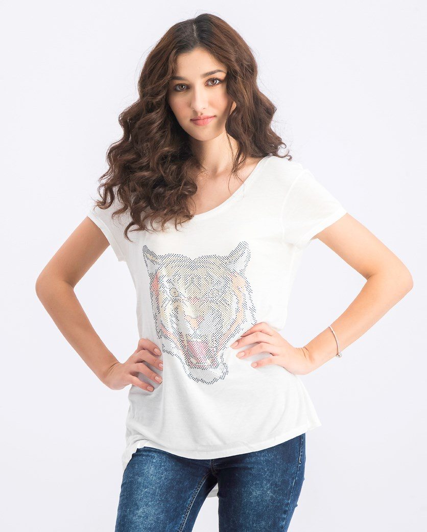 Women's Embellished Tiger Motif Top, White