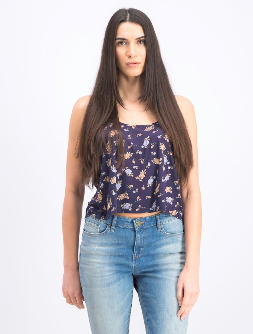 Women's Masie Floral Print Cropped Strappy Cami Top, Navy