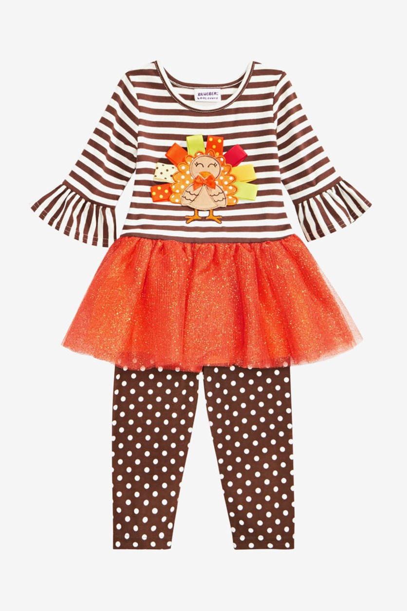 Baby Girls 2-Pcs. Turkey Dress & Leggings Set, Brown/Orange