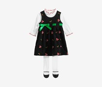 Baby Girls 3-Pc. Candy Cane Jumper Set, Black