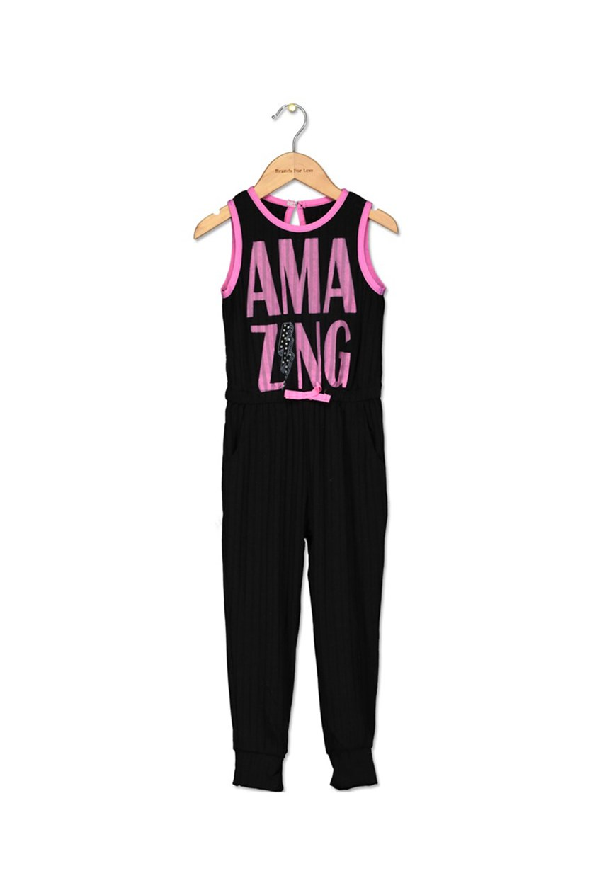 Girls Amazing Romper, Black/Pink