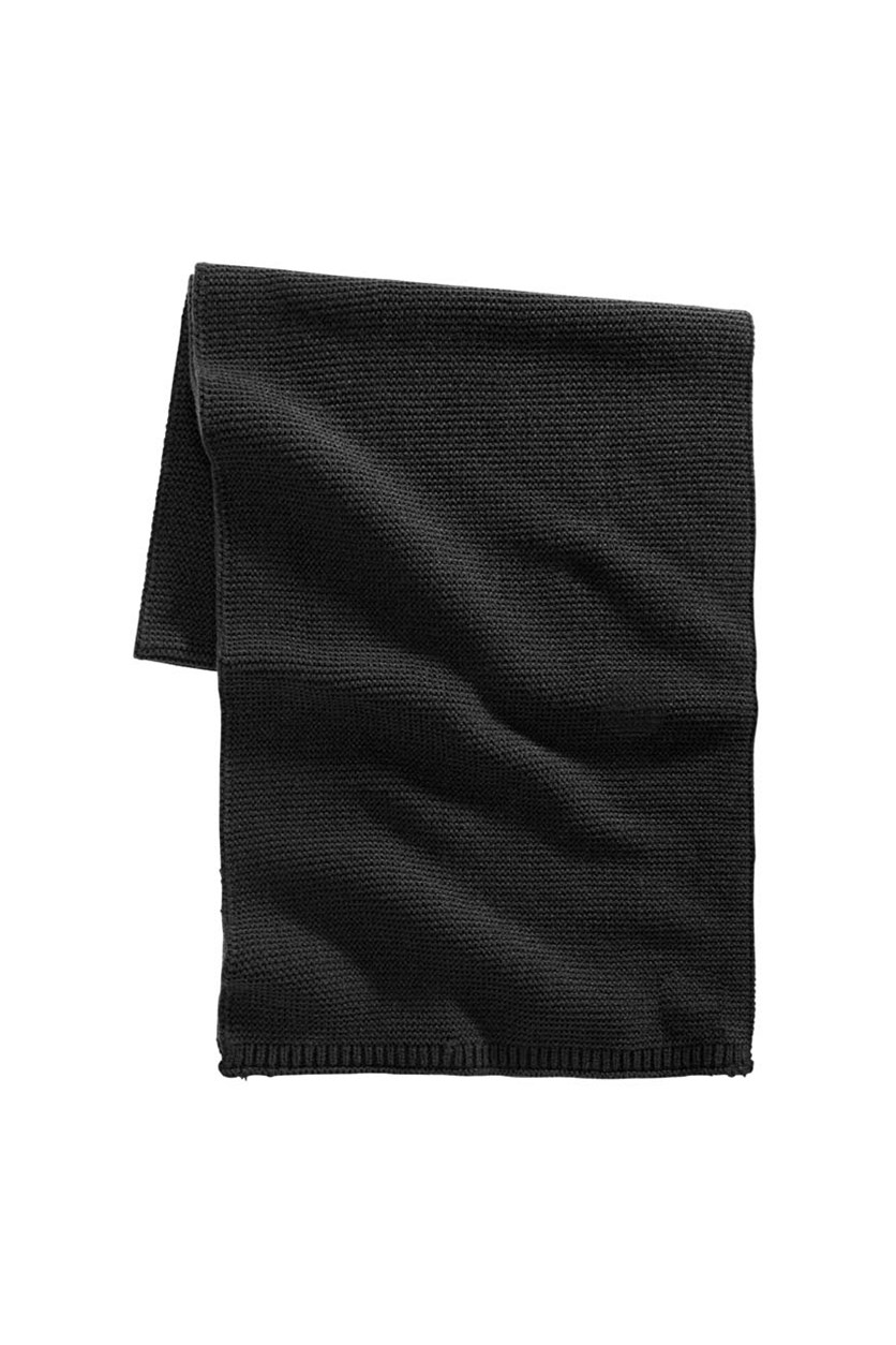 Mens Textured Scarf, Black
