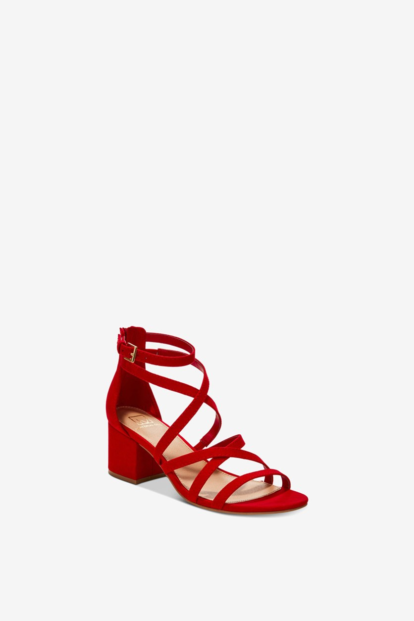 Women's Inez Block-Heel Sandals, Red Microsuede